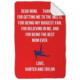 Gymnastics Sherpa Fleece Blanket - Dear Mom Heart (Guy Gymnast)