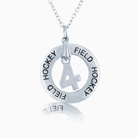 Field Hockey Jersey Number Message Ring Necklace