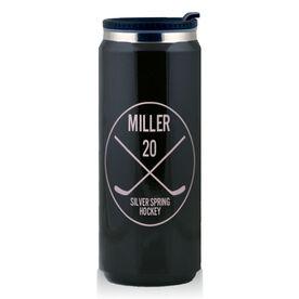 Stainless Steel Travel Mug Personalized Hockey Player Circle