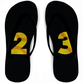 Softball Flip Flops Number Stitches