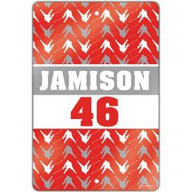 "Hockey Aluminum Room Sign (18""x12"") Personalized Hockey Player Pattern"