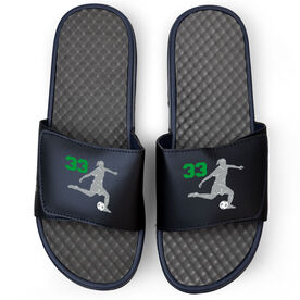 Soccer Navy Slide Sandals - Girl Player with Number
