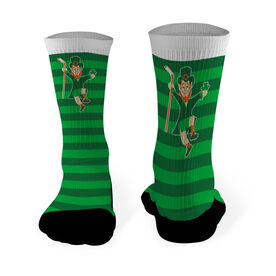 Hockey Printed Mid Calf Socks Lucky Hockey Leprechaun
