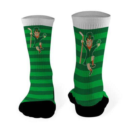 Hockey Printed Mid Calf Socks Lucky Hockey Leprechaun