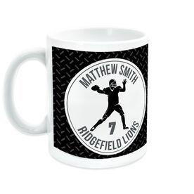 Football Ceramic Mug Personalized Team with Quarterback Silhouette