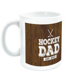 Hockey Ceramic Mug Dad With Wood Background