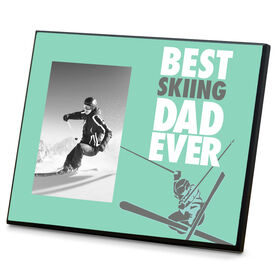 Skiing Wood Frame Best Dad Ever