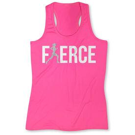 Women's Performance Singlet Fierce Runner Girl with Silver Glitter