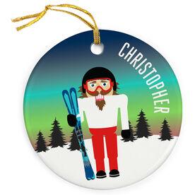 Skiing Porcelain Ornament Nutcracker