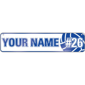 "Volleyball Aluminum Room Sign Personalized Player Name And Number (4""x18"")"