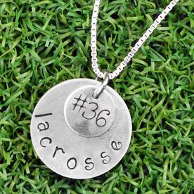 Sterling Silver Hand Stamped  Curly Font Team Number and Lacrosse Double Layered Charm Necklace