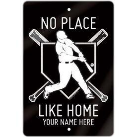 "Baseball Aluminum Room Sign (18""x12"") No Place Like Home"