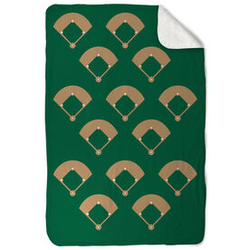Baseball Sherpa Fleece Blanket Across The Field