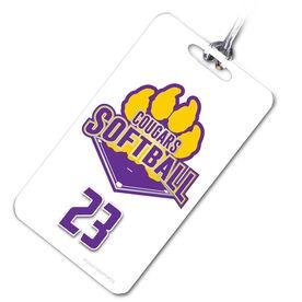 Softball Bag/Luggage Tag Custom Softball Logo with Team Number