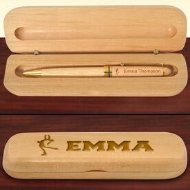Personalized Figure Skater Silhouette Wood Pen and Case