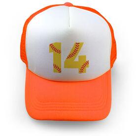 Softball Trucker Hat Number Stitches