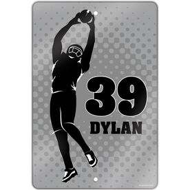 "Football Aluminum Room Sign (18""x12"") Personalized Football Player Silhouette"