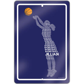 "Basketball Aluminum Room Sign Personalized Basketball Words Girl (18"" X 12"")"