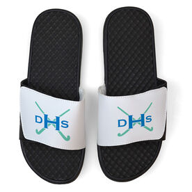 Field Hockey White Slide Sandals - Monogram with Field Hockey Sticks