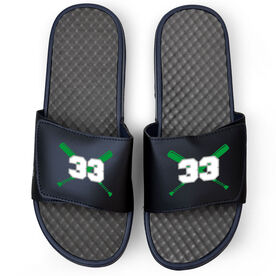 Baseball Navy Slide Sandals - Crossed Bats with Numbers