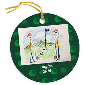 Golf Porcelain Ornament Your Drawing With Personalization