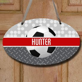 Soccer Oval Sign Personalized 2 Tier Patterns with Soccer Ball
