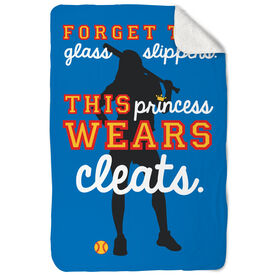 Softball Sherpa Fleece Blanket Forget The Glass Slippers This Princess Wears Cleats