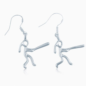 Silver Softball Girl (Stick Figure) Earrings