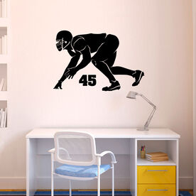 Personalized Football Linebacker Silhouette Removable ChalkTalkGraphix Wall Decal