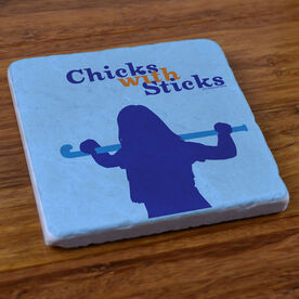 Field Hockey Stone Coaster Chicks With Sticks