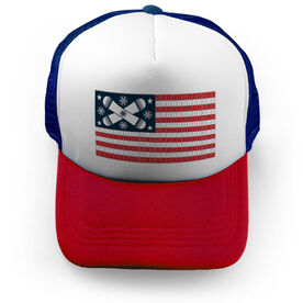 Snowboarding Trucker Hat - American Flag Words