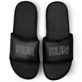 Running Black Slide Sandals - RUN Inspiration Chalkboard