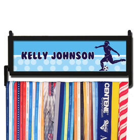 AthletesWALL Personalized 2 Tier Soccer Girl Medal Display