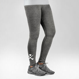 Field Hockey Performance Tights Crossed Sticks with Heart