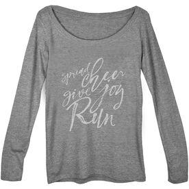 Women's Runner Scoop Neck Long Sleeve Tee Spread Cheer Give Joy Run