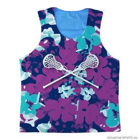 Girls Lacrosse Racerback Pinnie Flower Power with Crossed Sticks