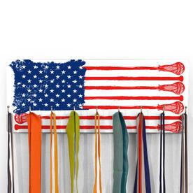 Guys Lacrosse Hooked on Medals Hanger - American Flag