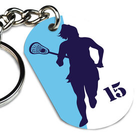Girls Lacrosse Printed Dog Tag Keychain Personalized Lacrosse Player Girl