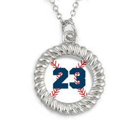 Braided Circle Necklace Baseball with Your Number