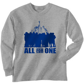 Guys Lacrosse Long Sleeve T-Shirt - All for One Blue