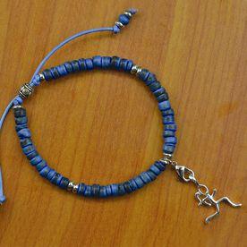 Natural SportBEAD Adjustable Bracelet - Sterling Silver Stick Figure Runner Charm