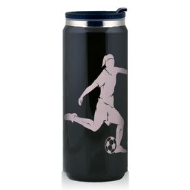 Stainless Steel Travel Mug Soccer Player Girl Silhouette