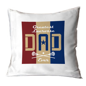 Guys Lacrosse Throw Pillow - Greatest Dad Stripes