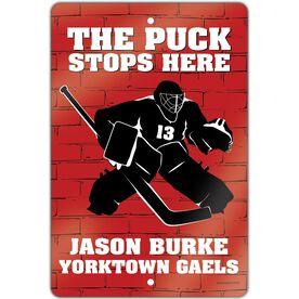 "Hockey Aluminum Room Sign (18""x12"") Personalized Brick Wall Goalie"