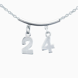 Silver Jersey Number Necklace with Two Numbers (Tube Spacer)