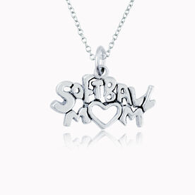 Sterling Silver Softball Mom Necklace