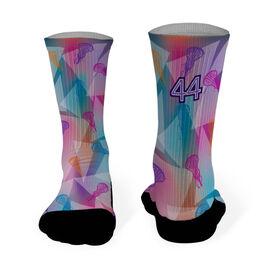 Girls Lacrosse Printed Mid Calf Socks Personalized Lacrosse Prism Pattern