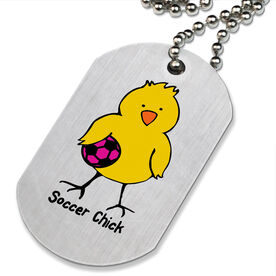 Soccer Chick Printed Dog Tag Necklace