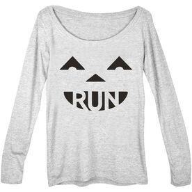 Women's Runner Scoop Neck Long Sleeve Tee Pumpkin Run