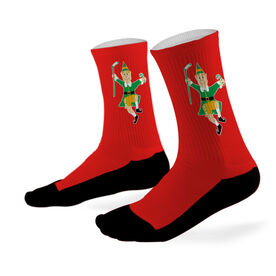 Hockey Printed Mid Calf Socks Hockey Elf